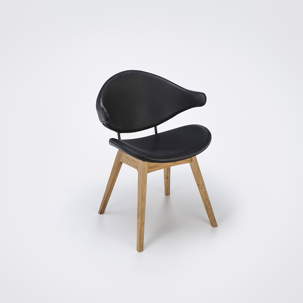 DINING CHAIR // Black Leather // Oiled Oak