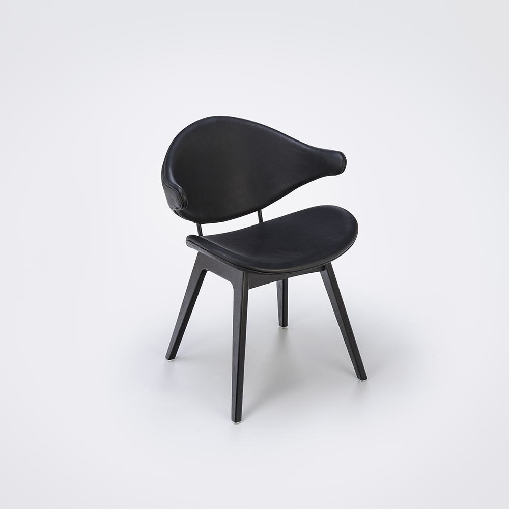 DINING CHAIR // Black Leather // Black Stained