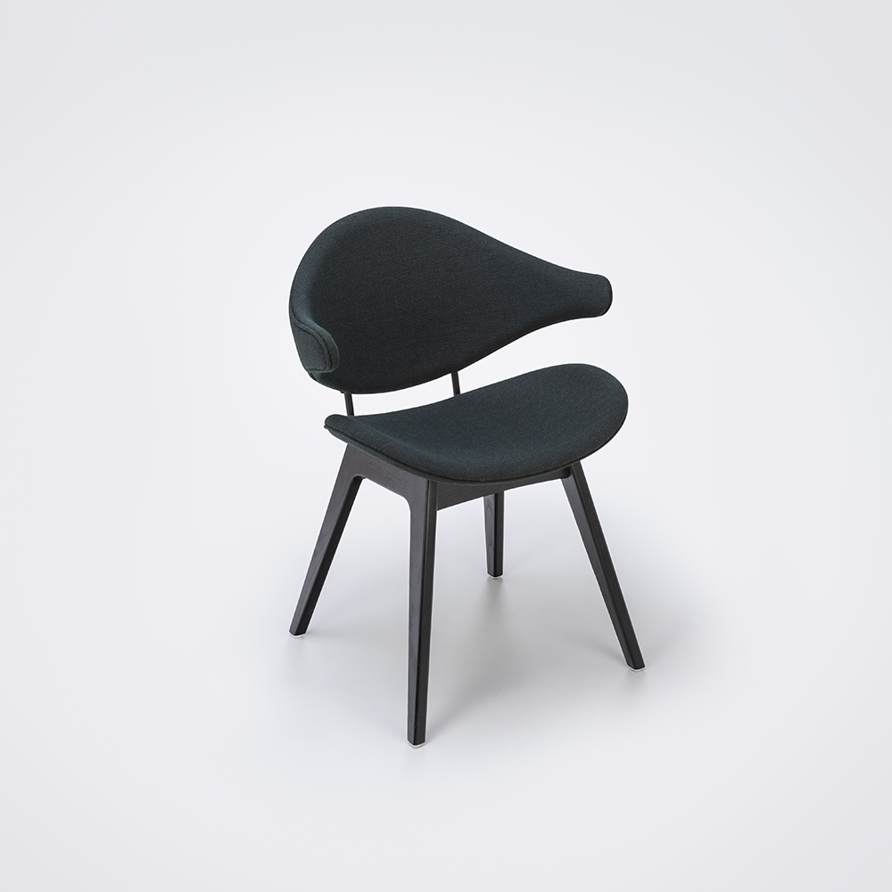 DINING CHAIR // Dark Gray Fabric // Black Stained