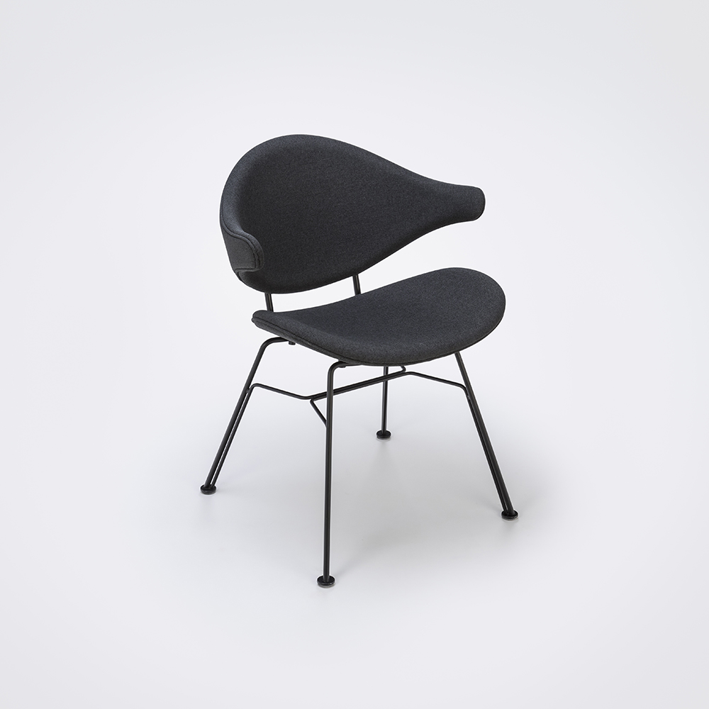 DINING CHAIR // Dark Gray Fabric // Black Metal
