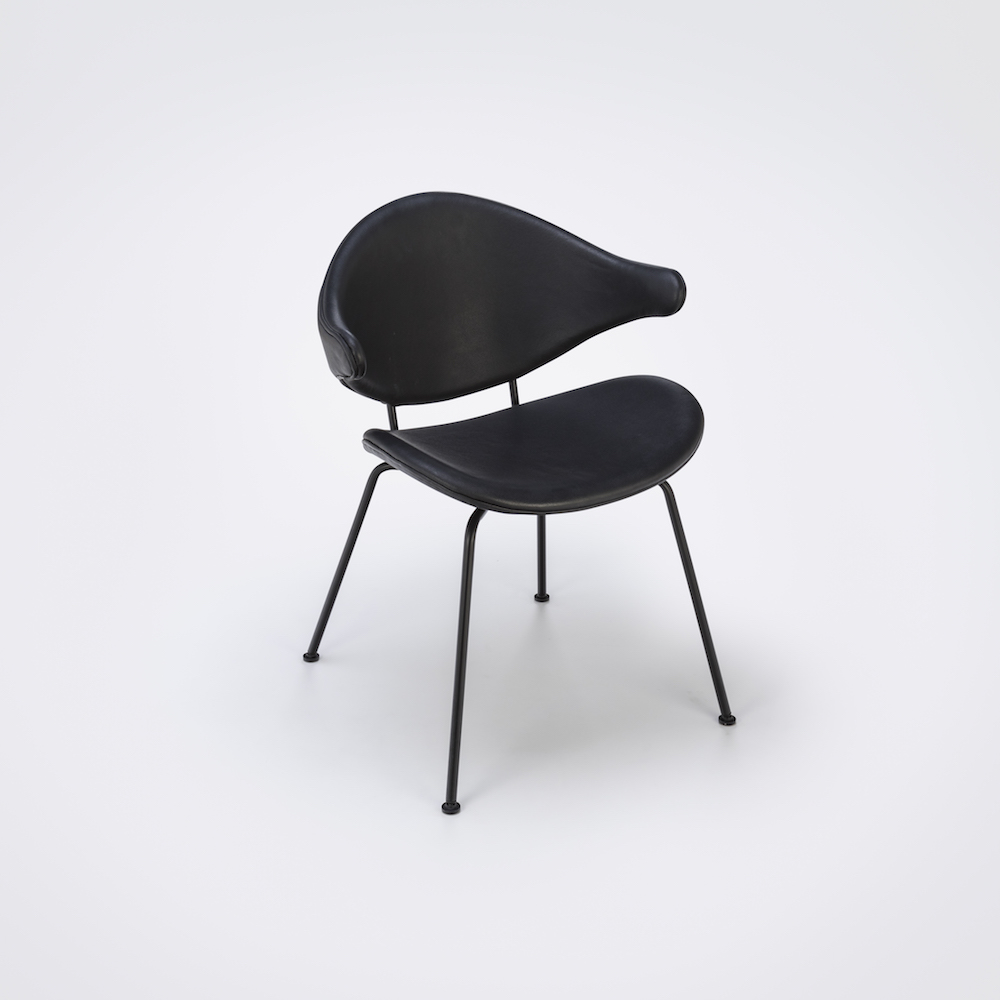 DINING CHAIR // Black Leather // Black Metal