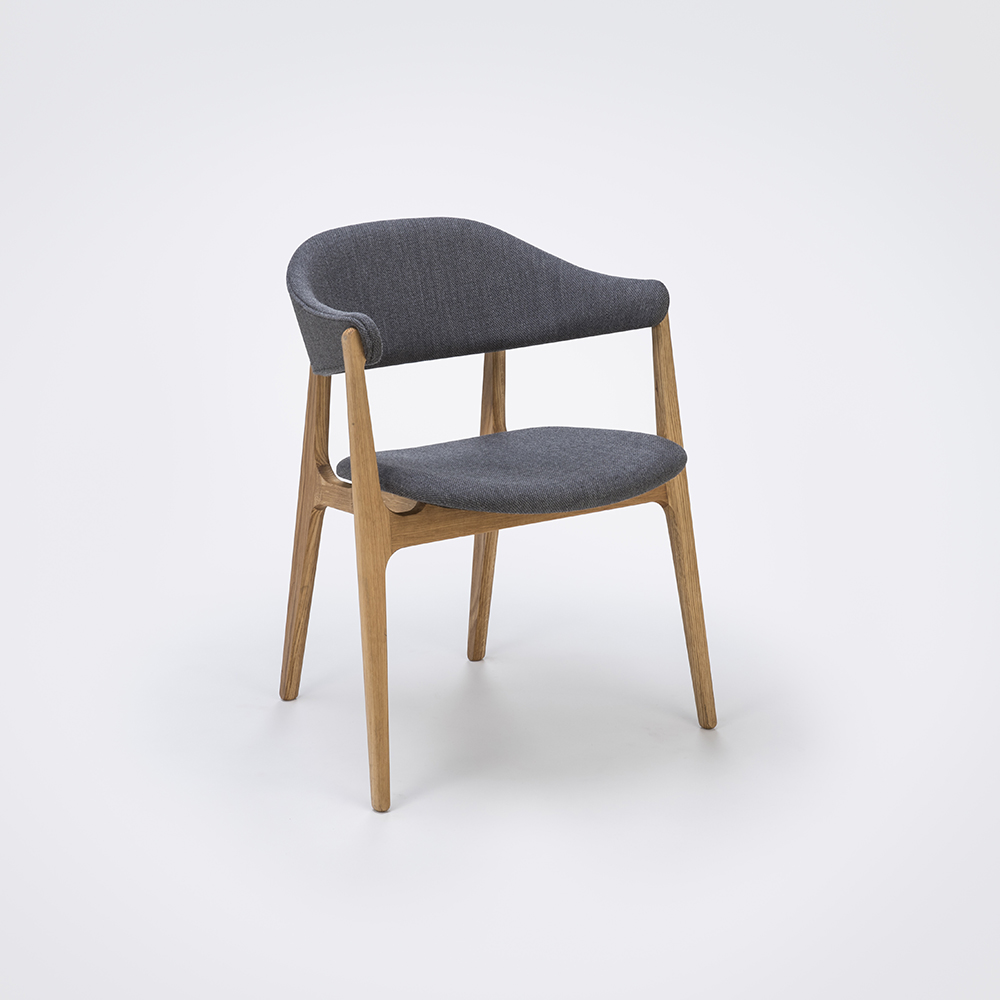 DINING CHAIR // Light Gray Fabric // Solid Oak Frame