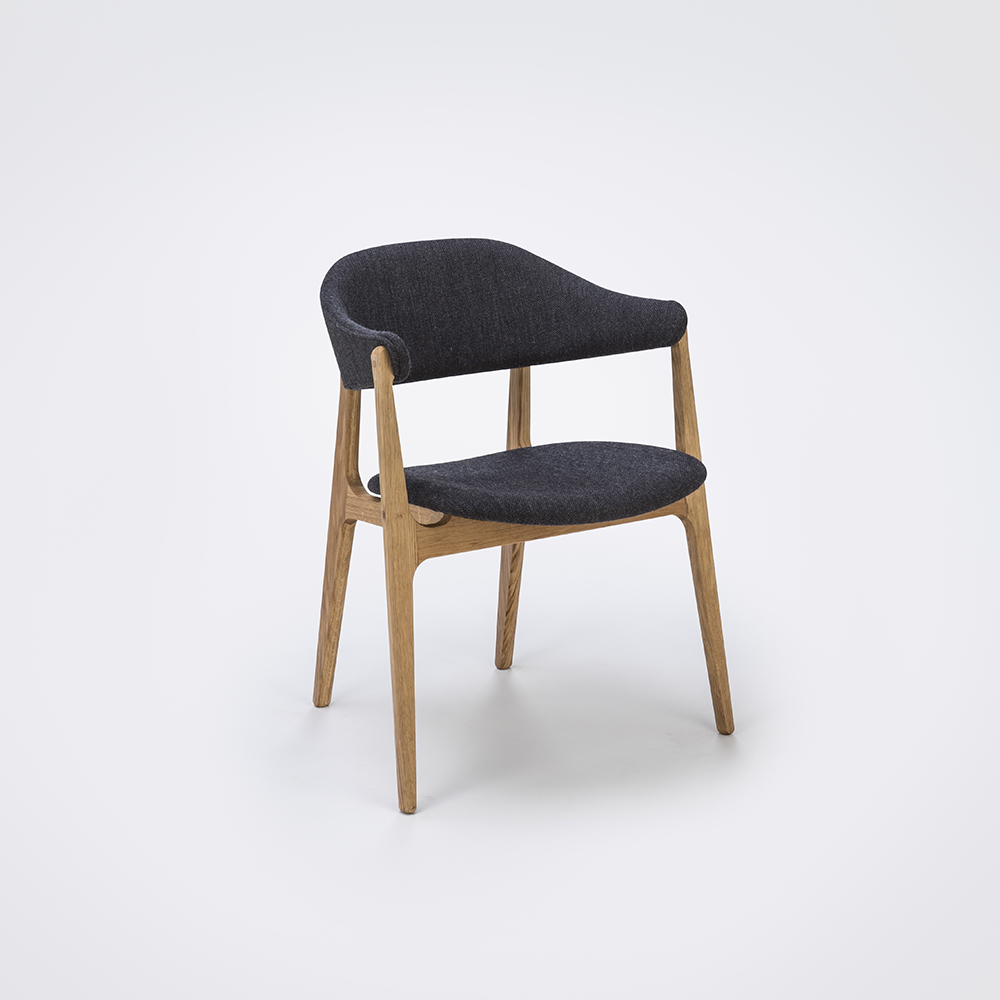 DINING CHAIR // Dark Gray Fabric // Solid Oak Frame