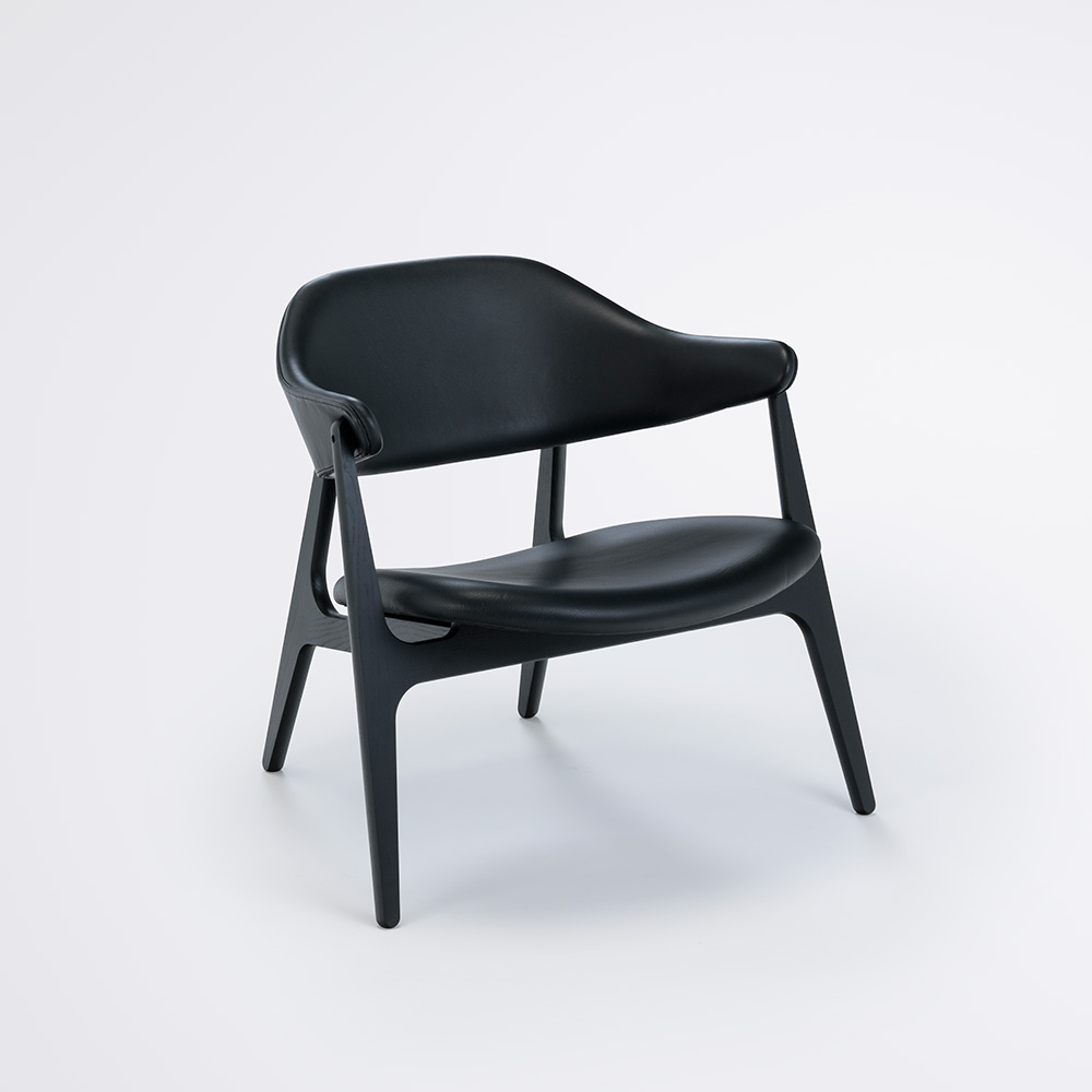 LOUNGE CHAIR // Black Leather Camo // Solid Black Stained Ash Frame