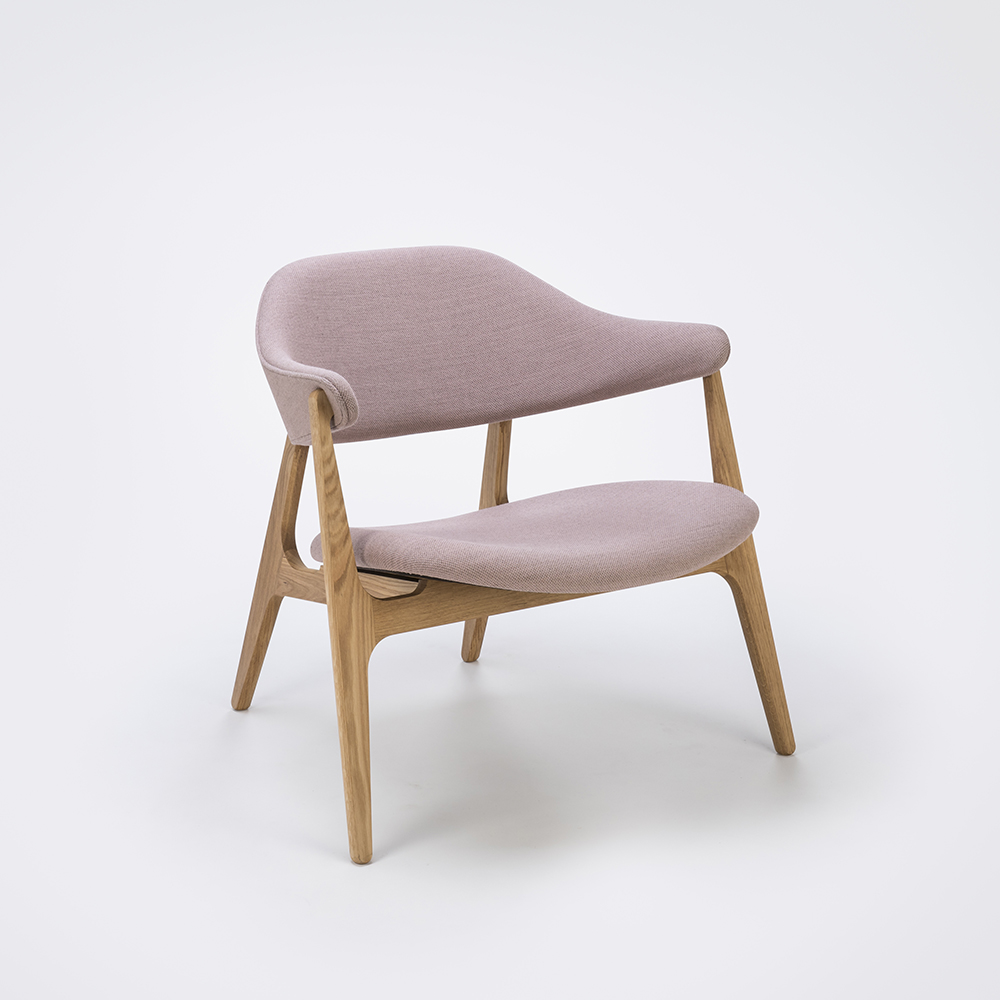 LOUNGE CHAIR // Rose Fabric // Solid Oak Frame