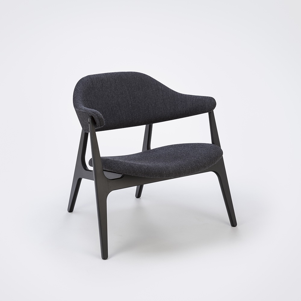 LOUNGE CHAIR // Dark Gray Fabric // Solid Black Stained Frame