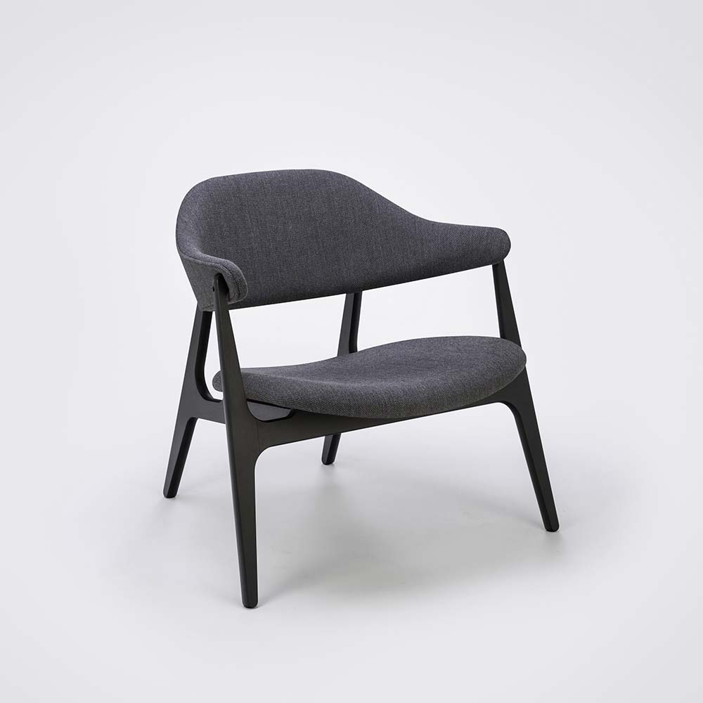 LOUNGE CHAIR // Light Gray Fabric Kvadrat // Solid Black Stained Ash Frame