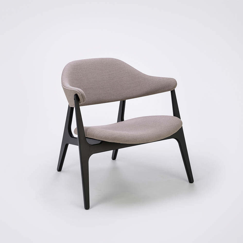LOUNGE CHAIR // Rose Fabric Kvadrat // Solid Black Stained Ash Frame