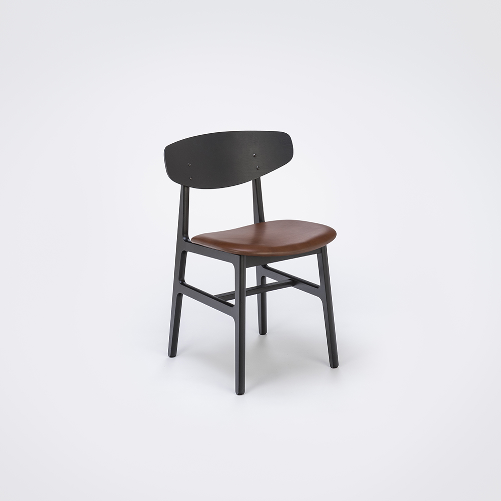 DINING CHAIR // Black Stained Back and Cognac Leather // Solid Black Stained Frame