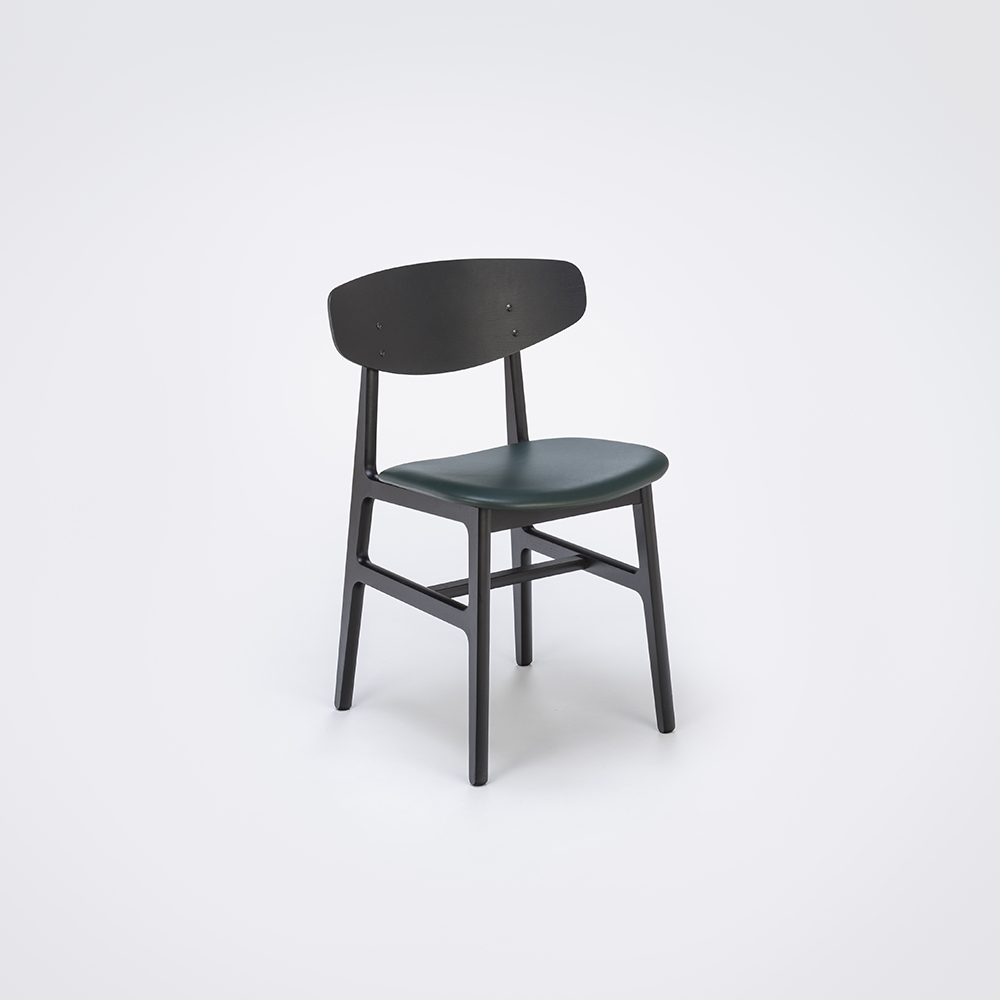 DINING CHAIR // Black Stained Back and Dark Green Leather // Solid Black Stained Frame