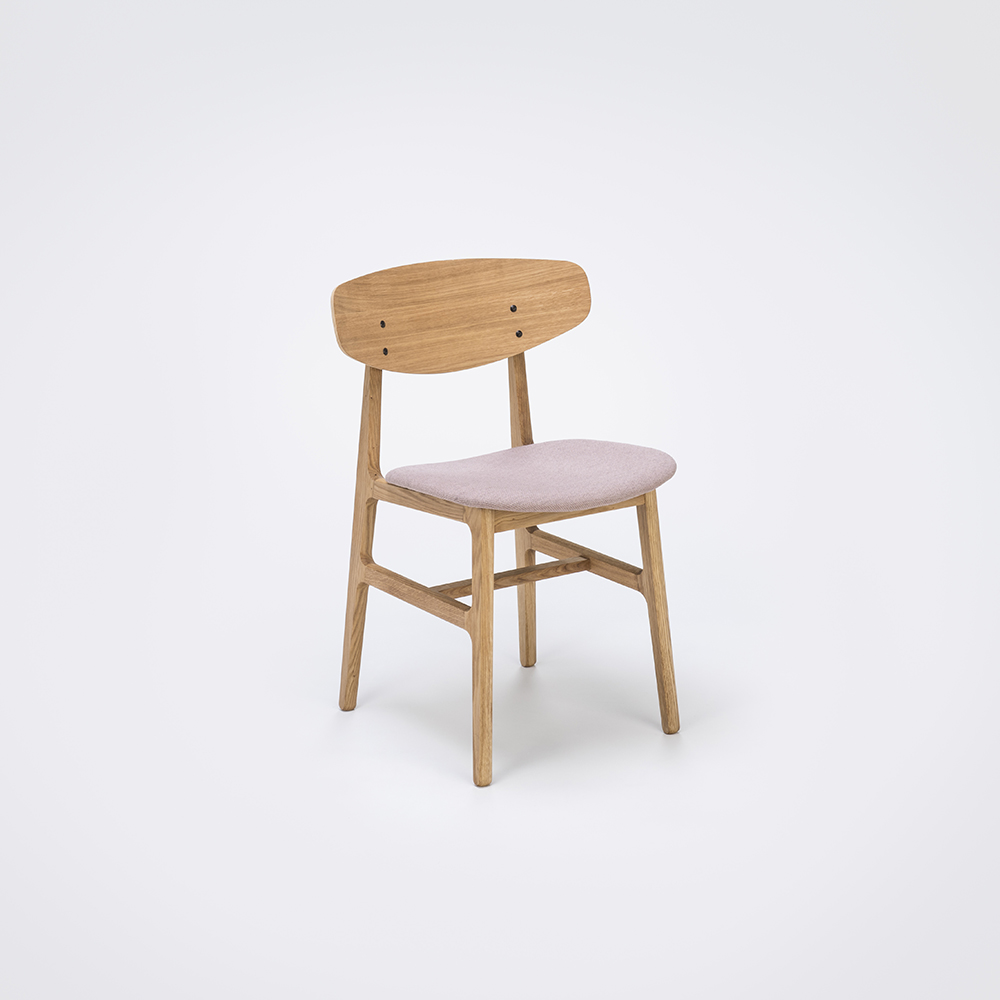 DINING CHAIR // Oiled Veneer Oak Back // Rose Fabric // Solid Oiled Oak Frame