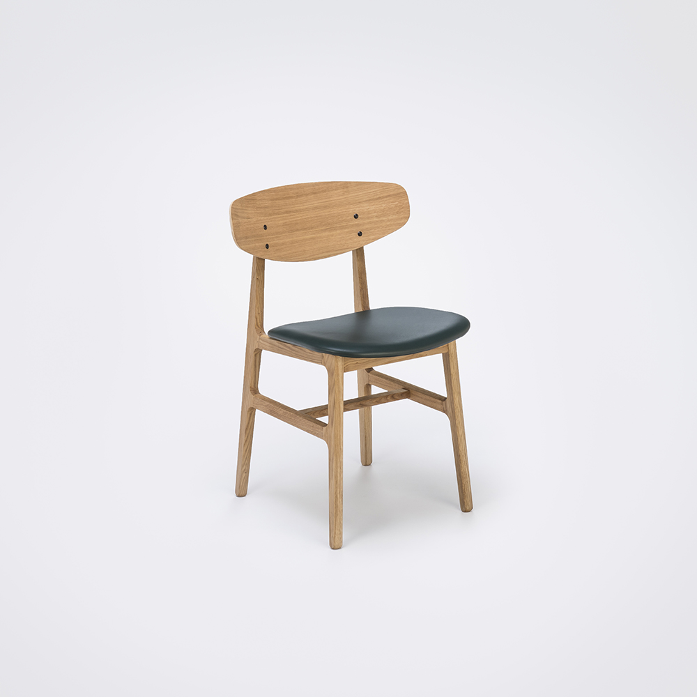 DINING CHAIR // Oiled Veneer Oak Back // Dark Green Leather // Solid Oiled Oak Frame