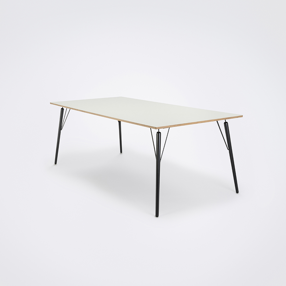 DINING TABLE 160cm // White Laminate // Oak Edge