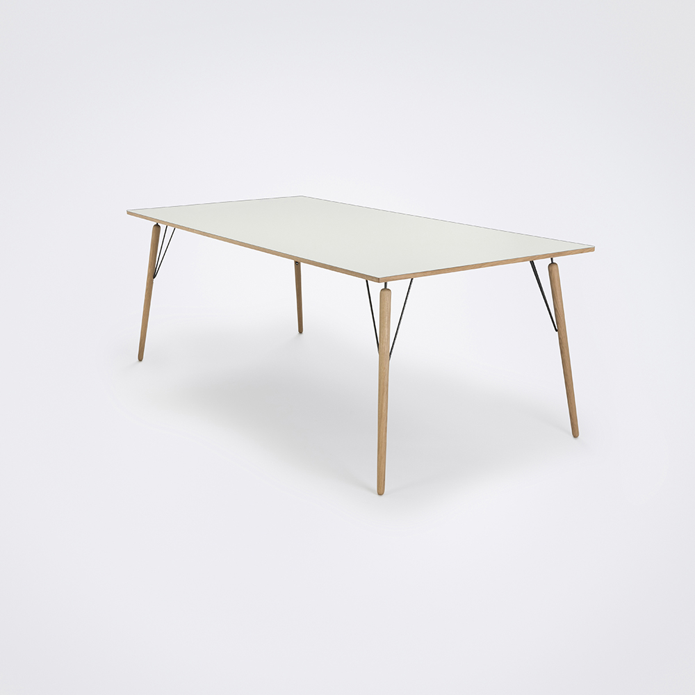 DINING TABLE 205cm // White Laminate // Oak Edge