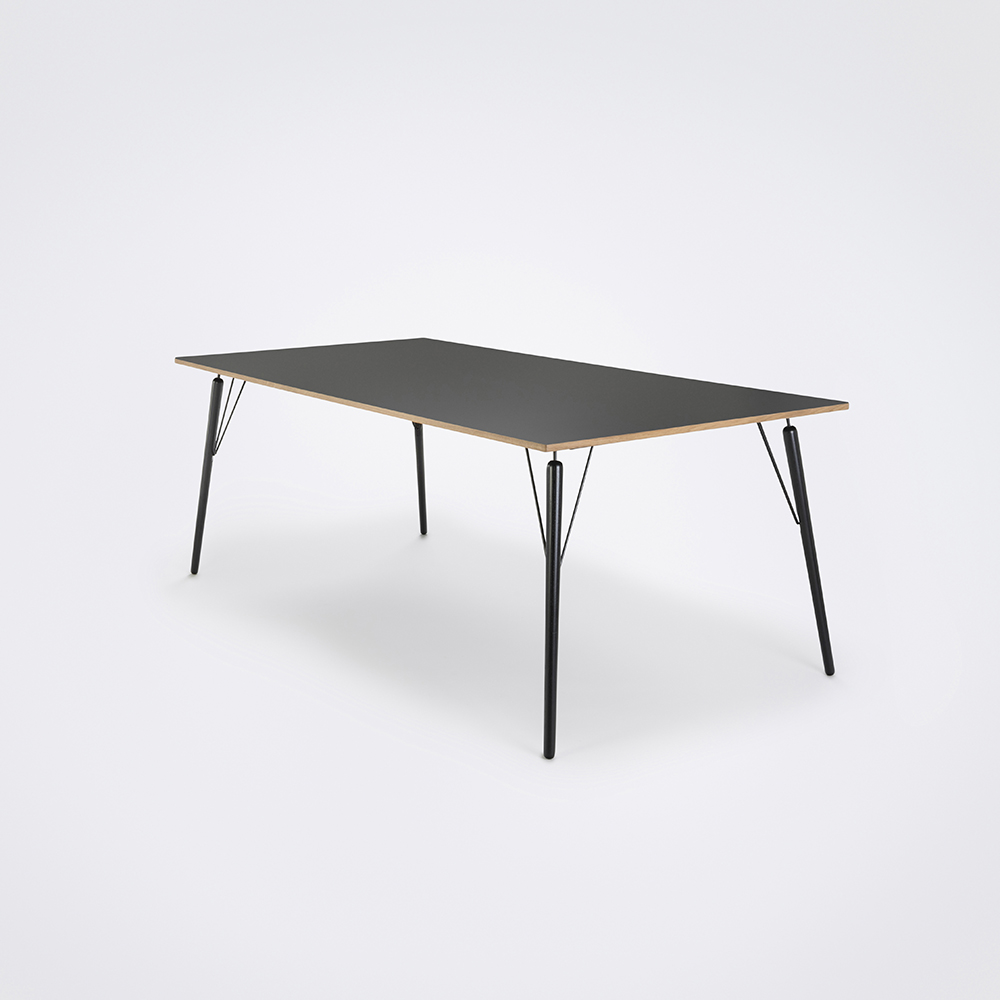 DINING TABLE 160cm // Granite Gray Laminate // Oak Edge