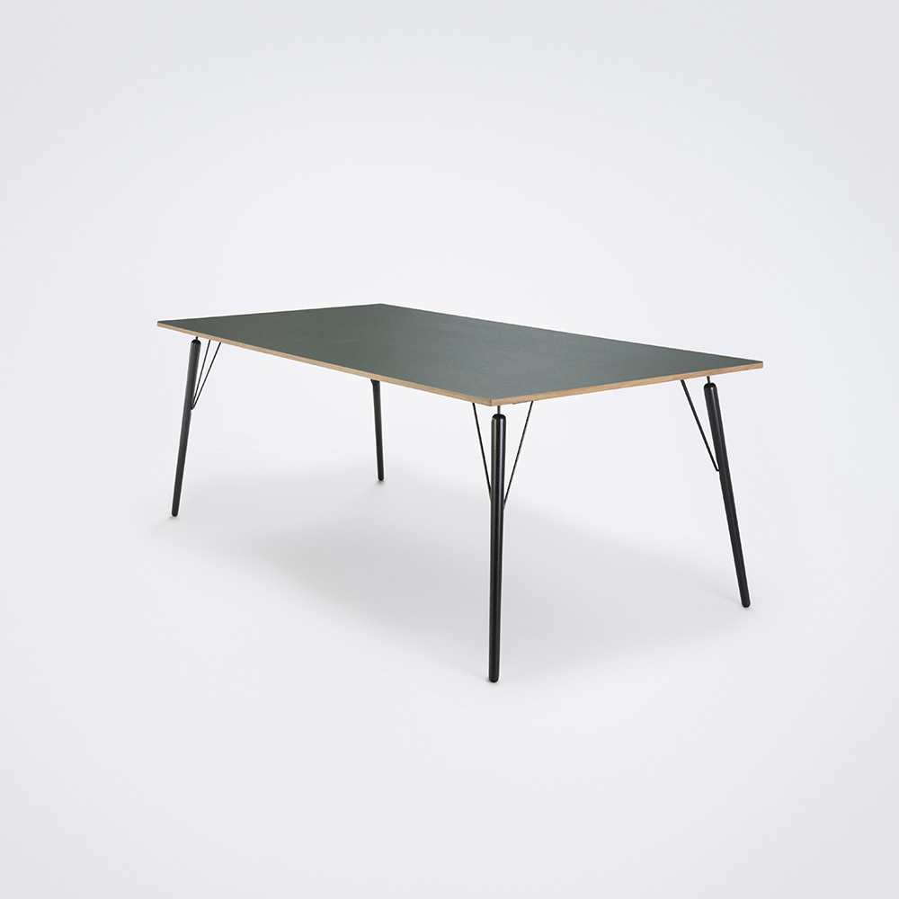 DINING TABLE 160cm // Dark Green Linoleum // Oak Edge