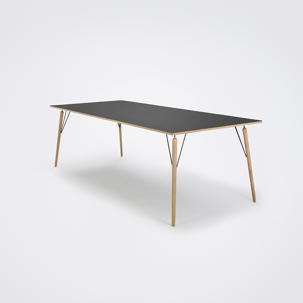 DINING TABLE 240cm // Black Linoleum // Oak Edge