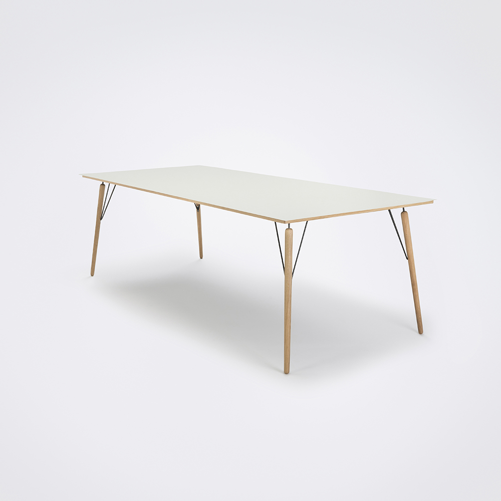 DINING TABLE 240cm // White Laminate // Oak Edge