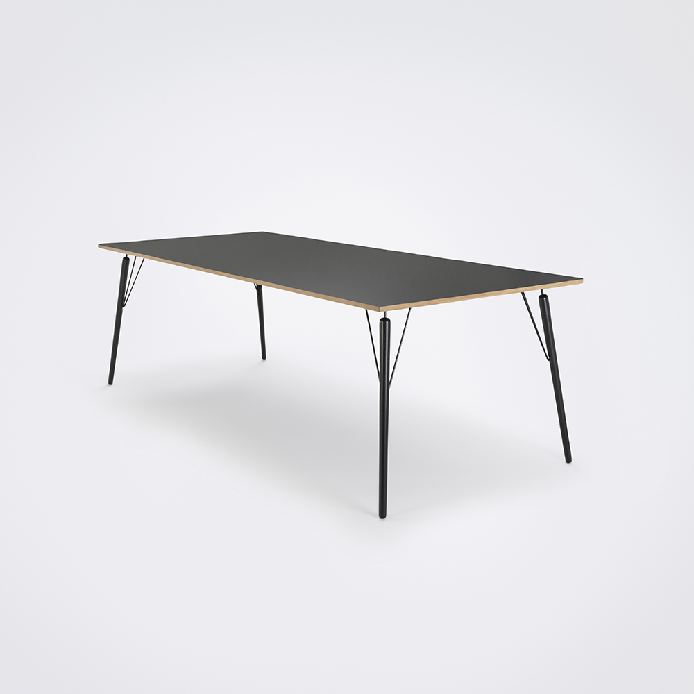 DINING TABLE 240cm // Granite Gray Laminate // Oak Edge