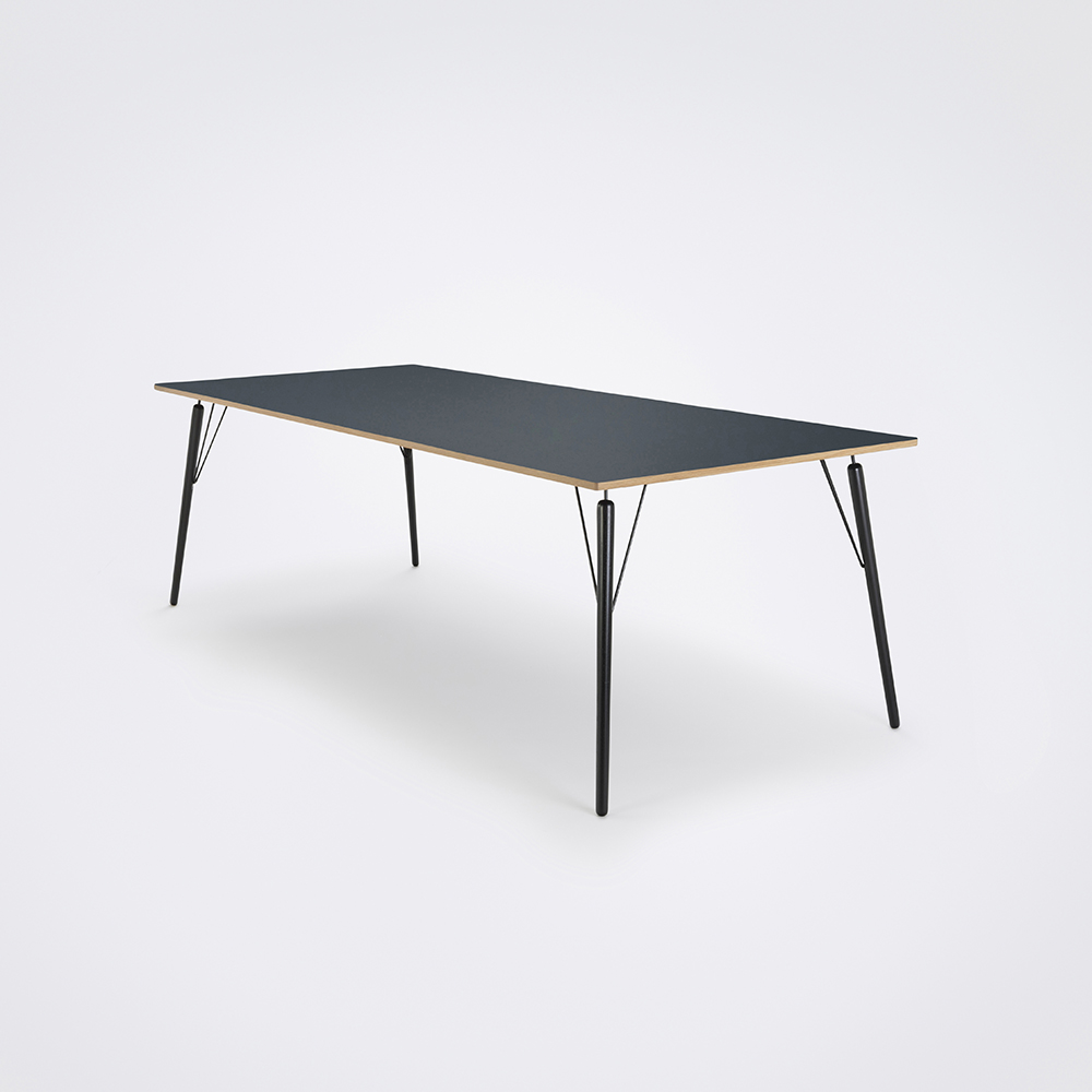 DINING TABLE 240cm // Smokey Blue Linoleum // Oak Edge