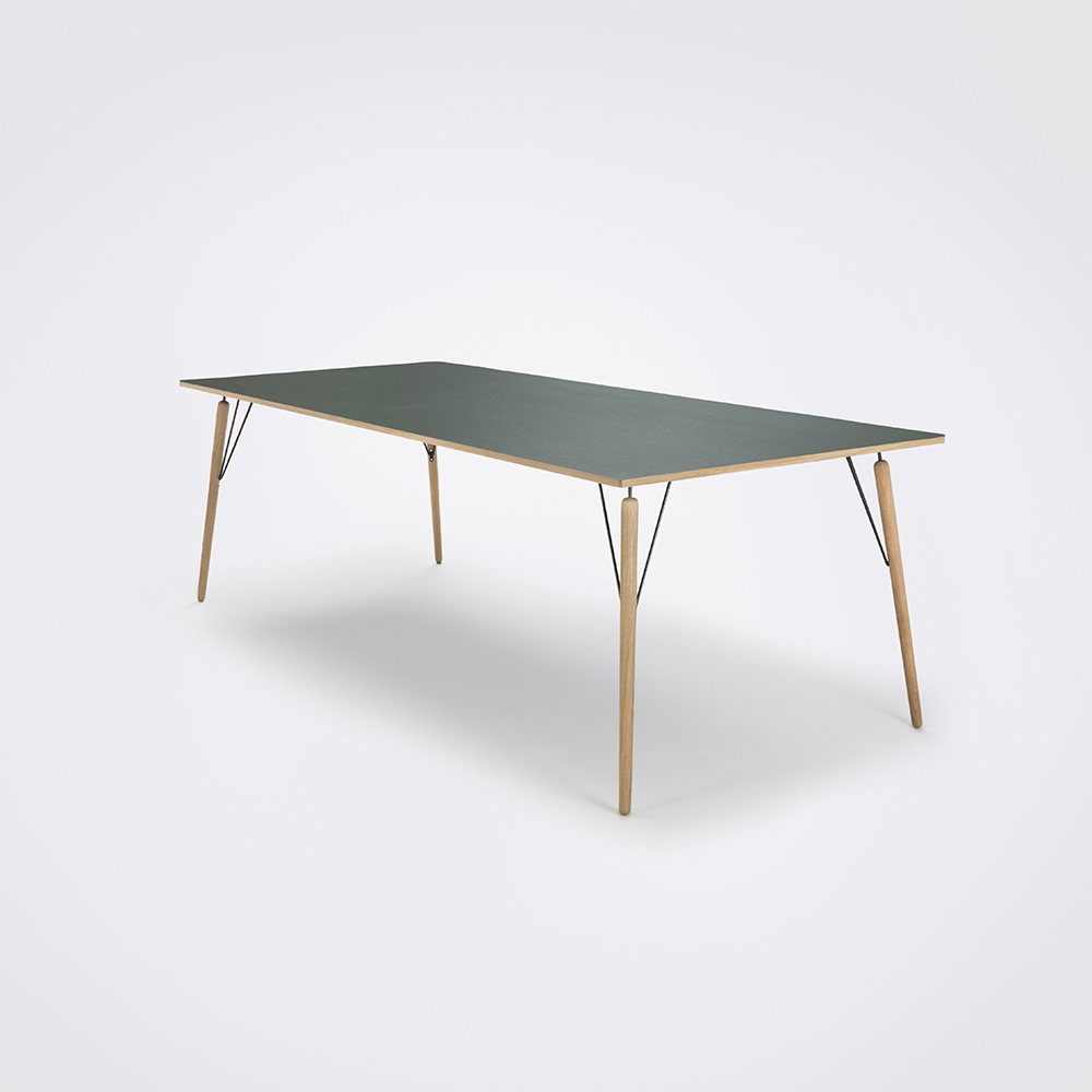 DINING TABLE 240cm // Dark Green Linoleum // Oak Edge