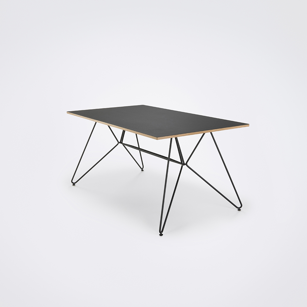 DINING TABLE 160cm // Black Linoleum // Oak Edge