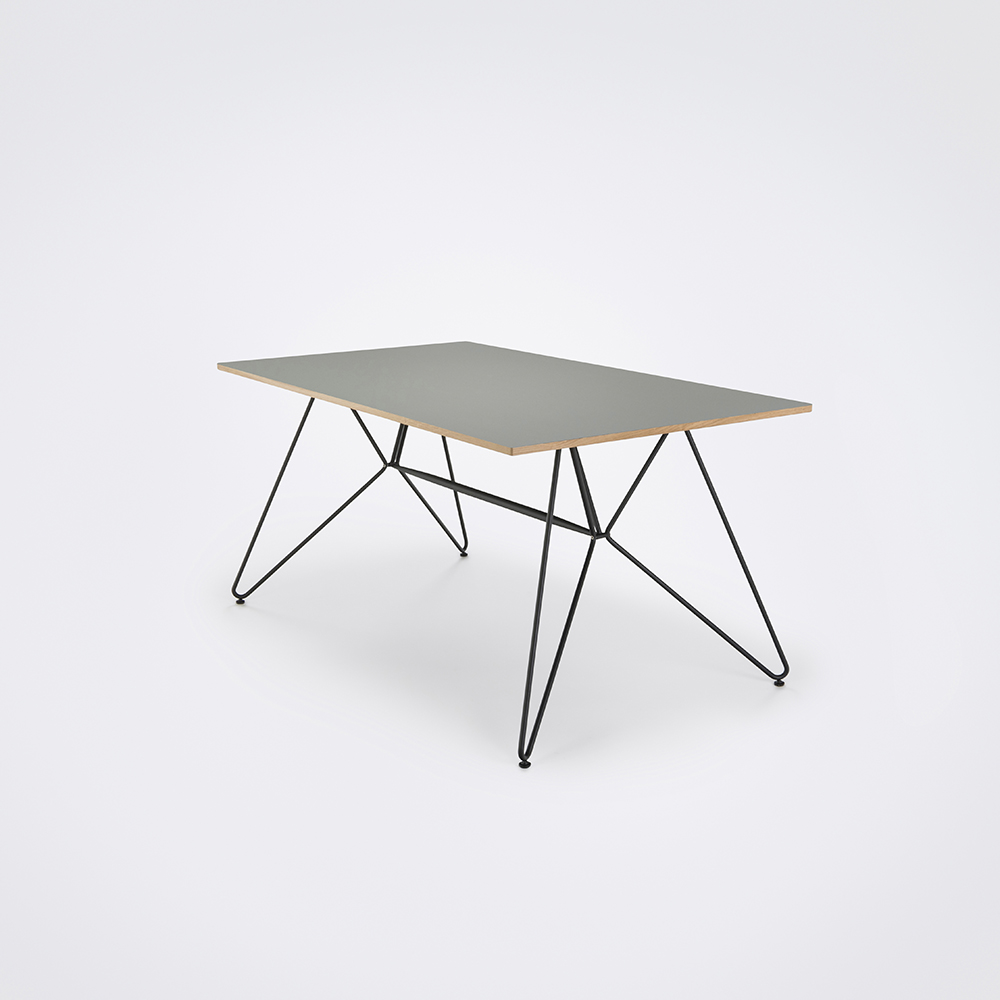 DINING TABLE 160cm // Ash Gray Linoleum // Oak Edge