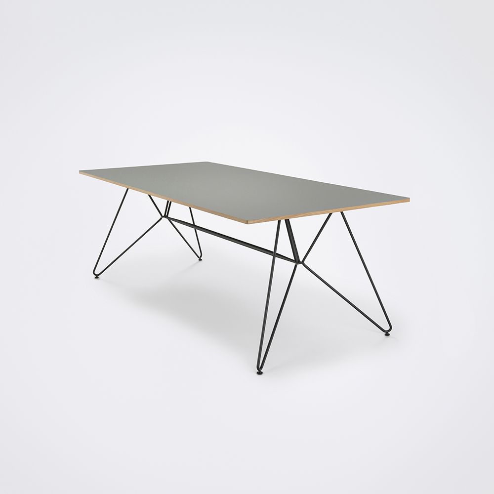 DINING TABLE 205cm // Ash Gray Linoleum // Oak Edge