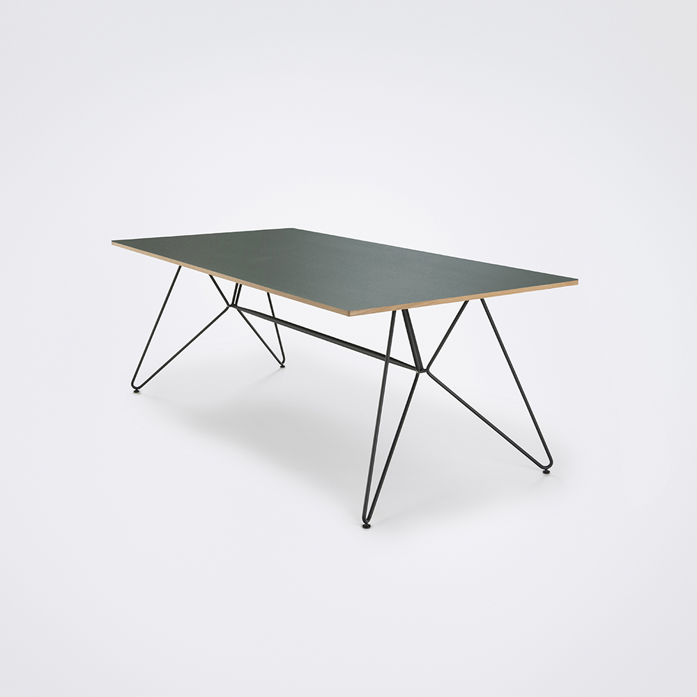 DINING TABLE 205cm // Dark Green Linoleum // Oak Edge