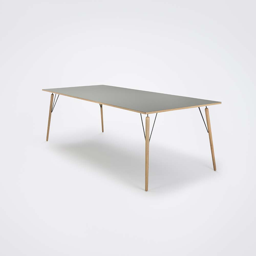 DINING TABLE 240cm // Ash Gray Linoleum // Oak Edge