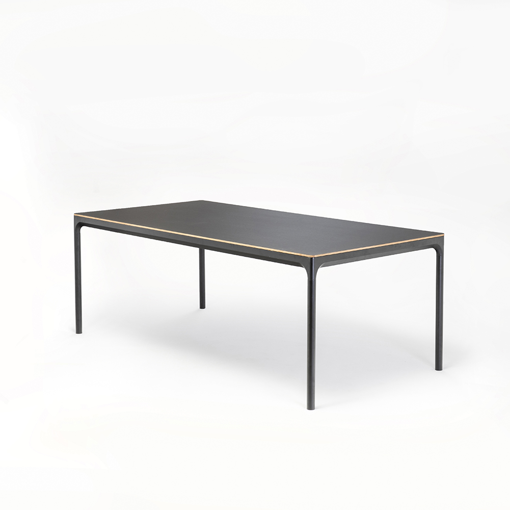 DINING TABLE 205cm // Black linoleum // Oak edge