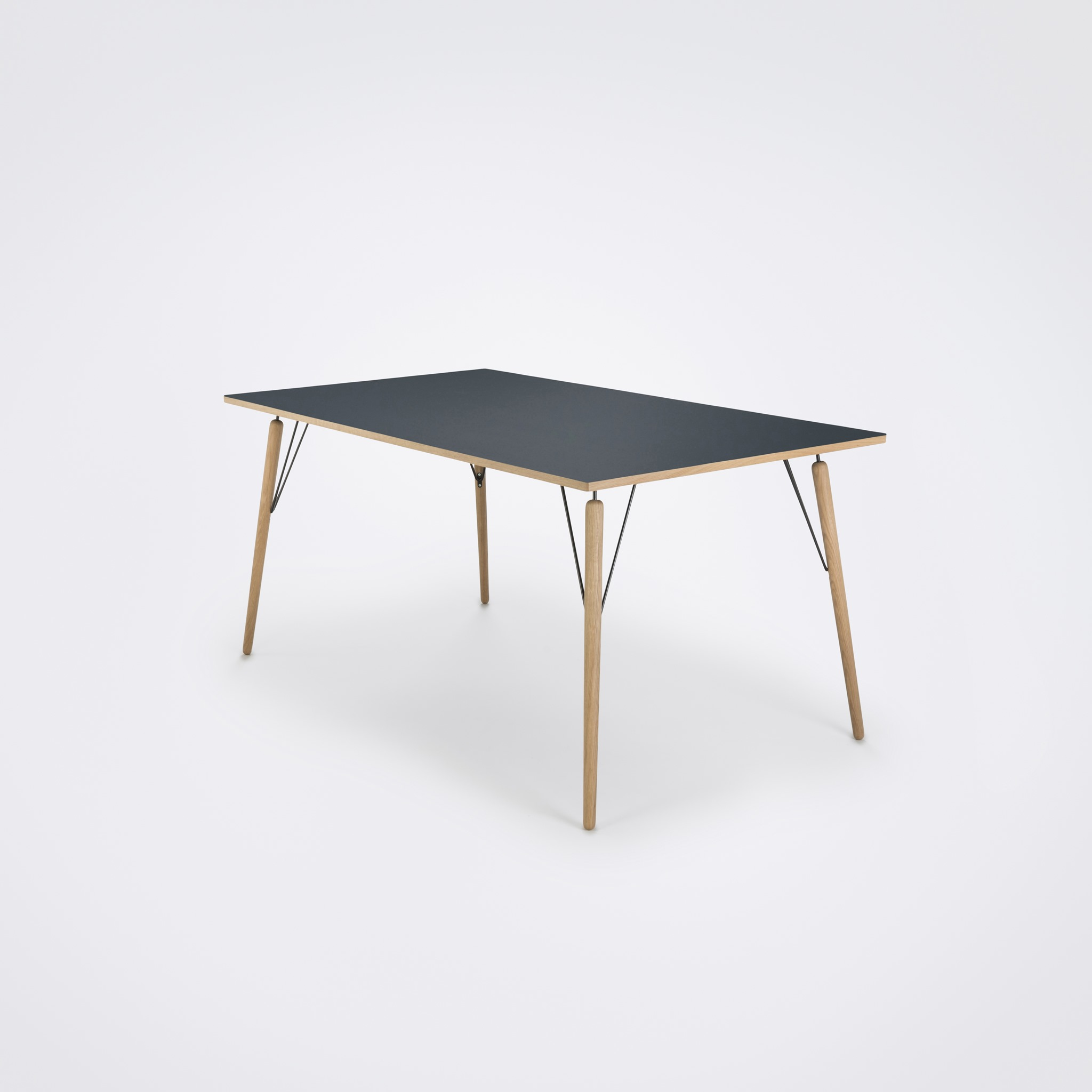 DINING TABLE 160cm // Smokey Blue Linoleum // Oak Edge