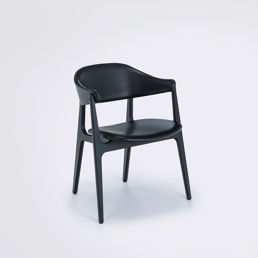 DINING CHAIR // Black Leather Camo // Solid Black Stained Ash Frame