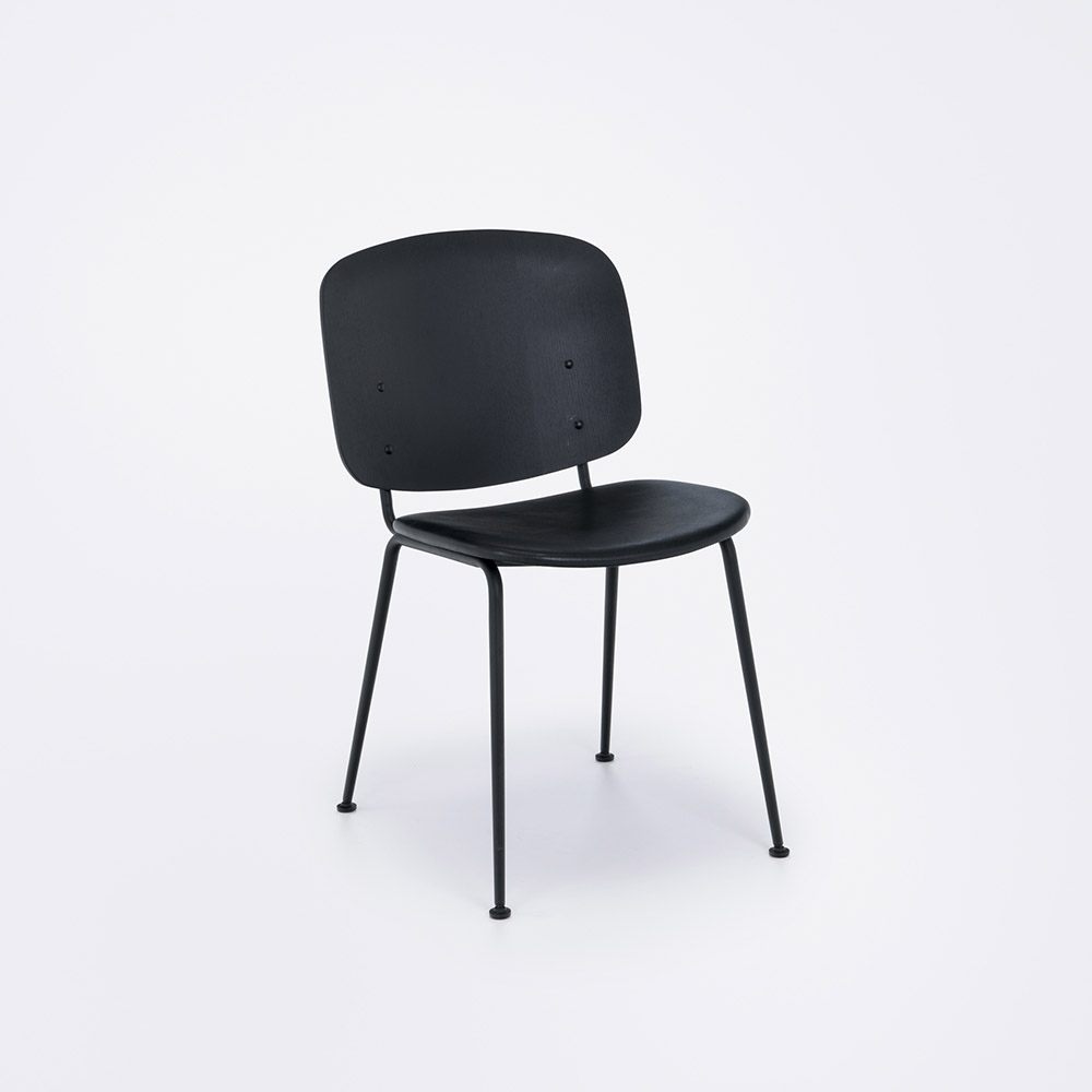 DINING CHAIR // Black Painted Veneered Back // Black Metal Frame