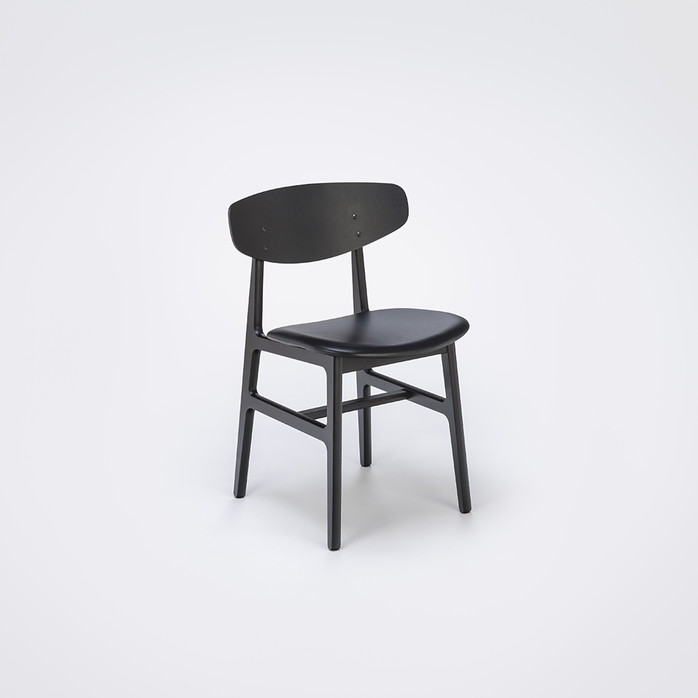 DINING CHAIR // Black Painted Back and Black Leather // Solid Black Painted Frame