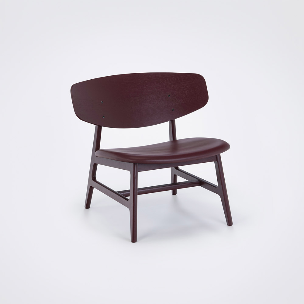 LOUNGE CHAIR // Oxblood painted Veneer Back // Oxblood Leather // Solid oxblood painted Frame