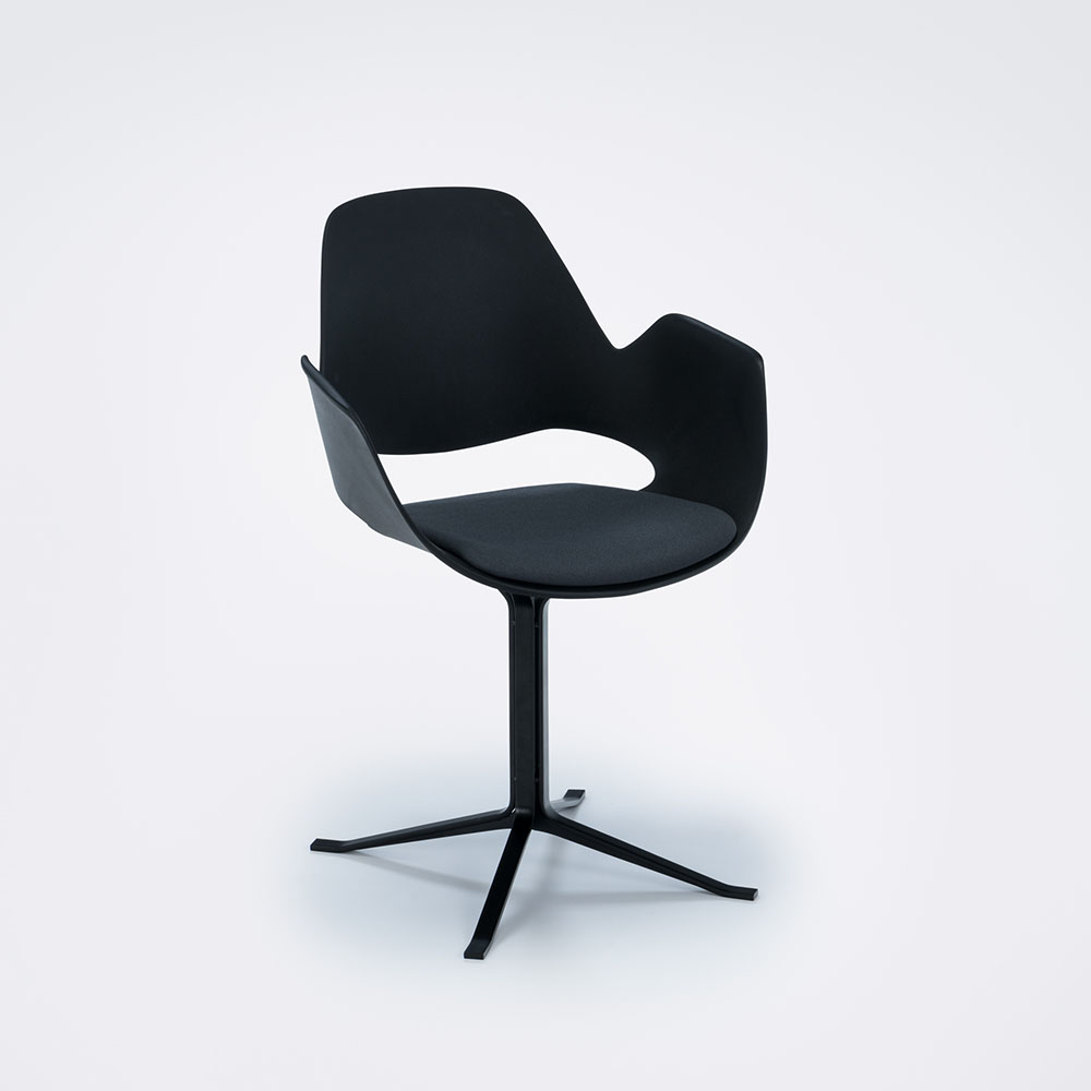 DINING ARMCHAIR // PADDED SEAT // Dark grey // Column leg