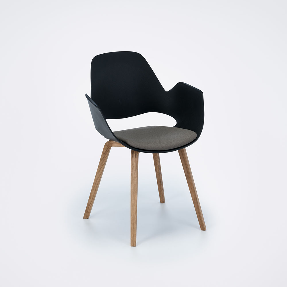 DINING ARMCHAIR // PADDED SEAT // Beige // Oiled Oak legs