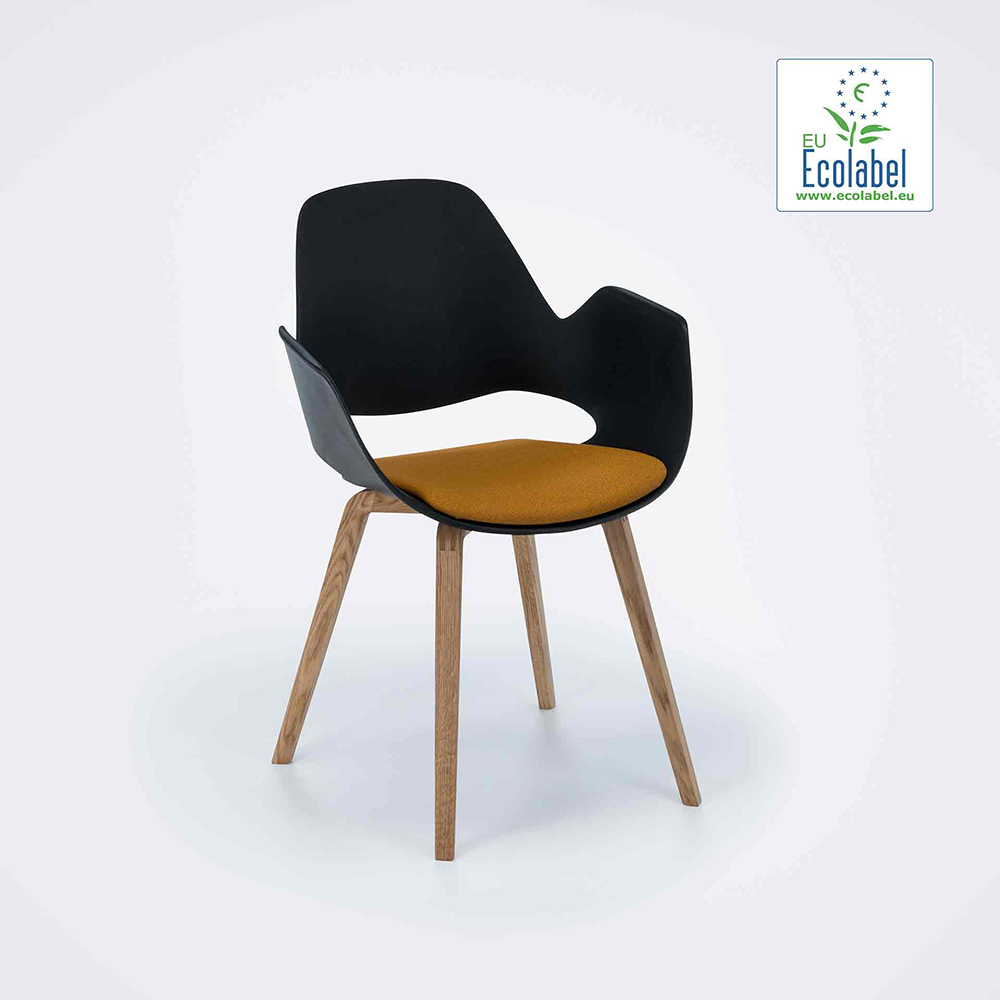 DINING ARMCHAIR // PADDED SEAT // Dark yellow // Oiled Oak legs