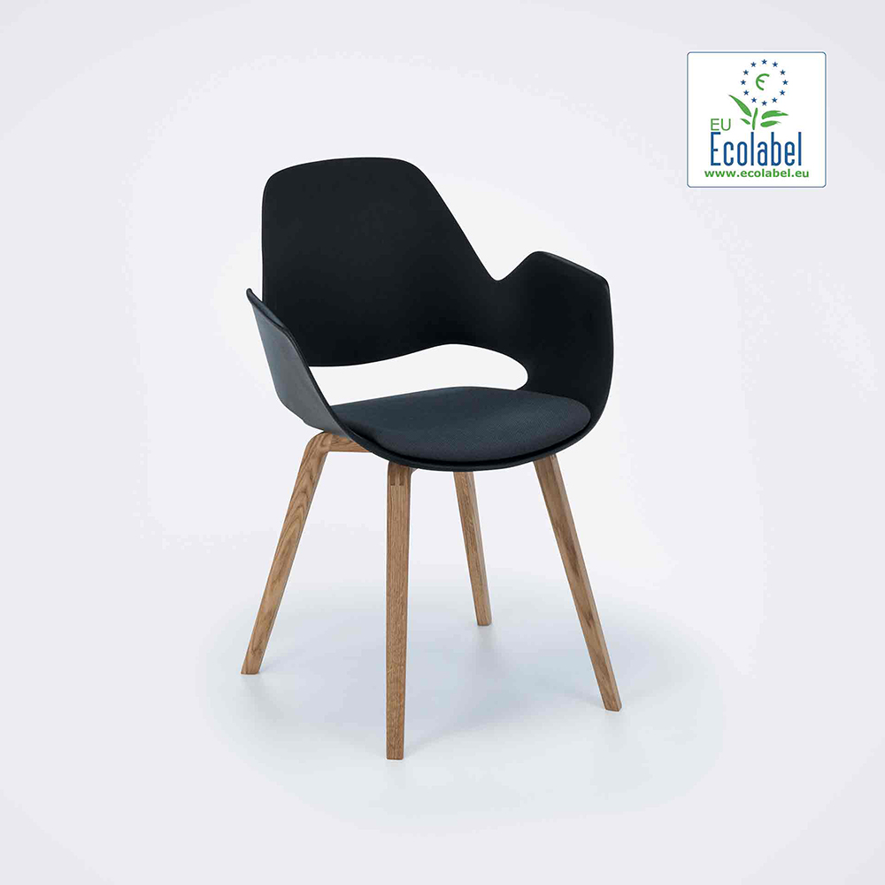 DINING ARMCHAIR // PADDED SEAT // Dark grey // Oiled Oak legs