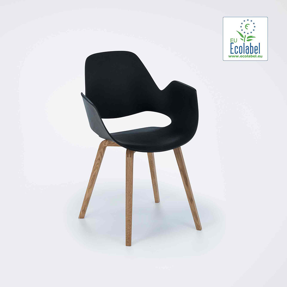 DINING ARMCHAIR // Black seat // Oiled Oak legs