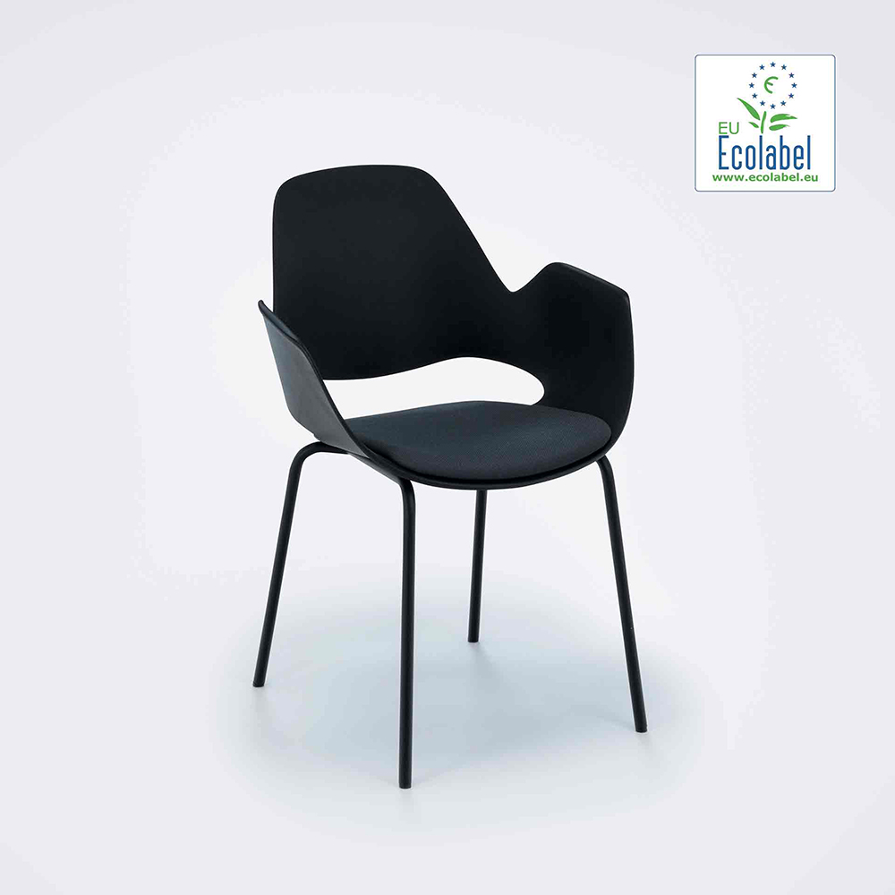 DINING ARMCHAIR WITH PADDED SEAT // Black/Dark grey // Black metal tube legs