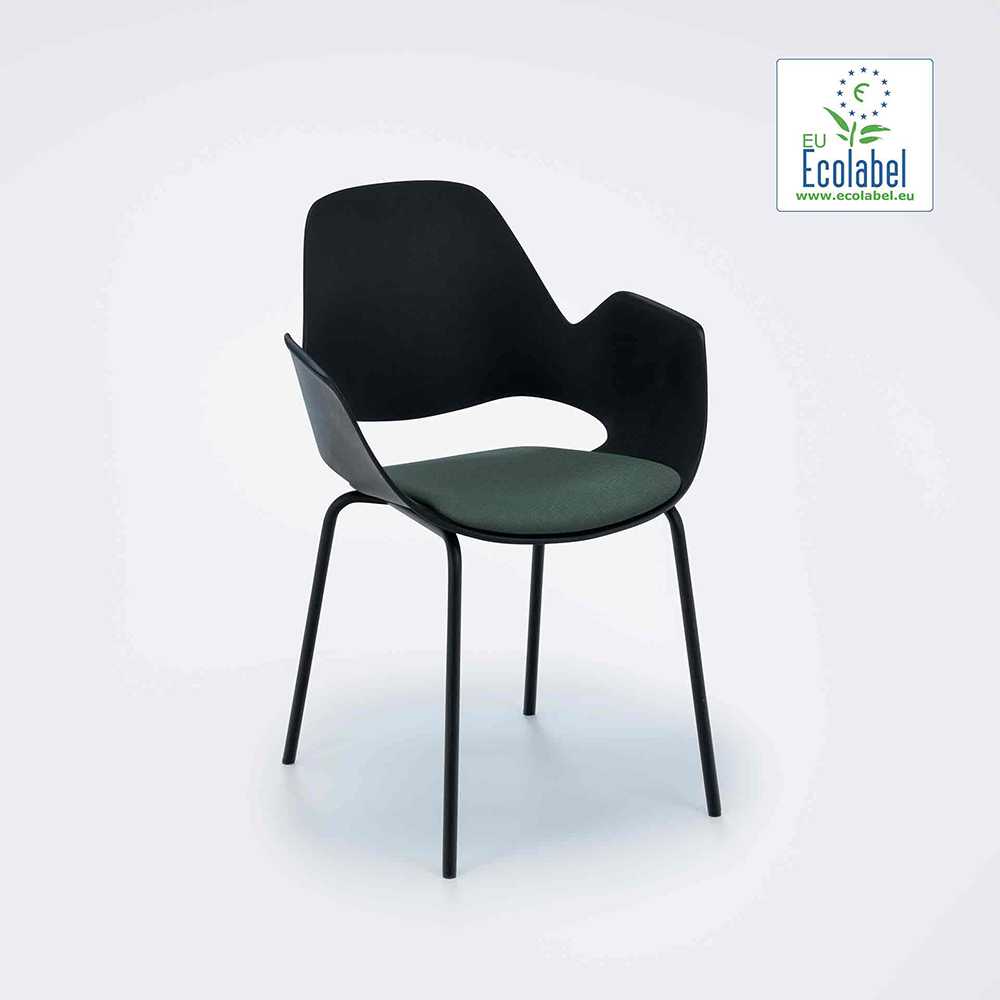 DINING ARMCHAIR WITH PADDED SEAT // Black/dark green// Black metal tube legs
