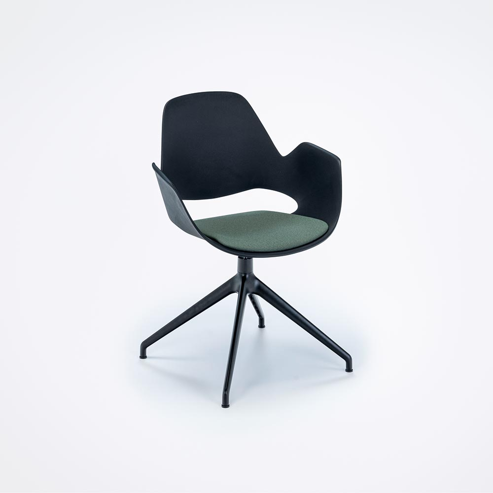 DINING ARMCHAIR // PADDED SEAT // Black/Dark green // 4 star swivel base