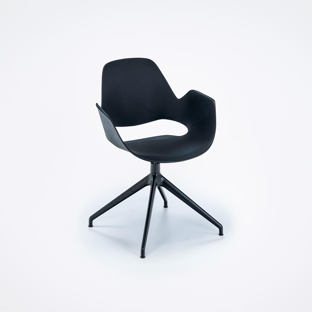 DINING ARMCHAIR // Black seat // Black 4 star swivel base