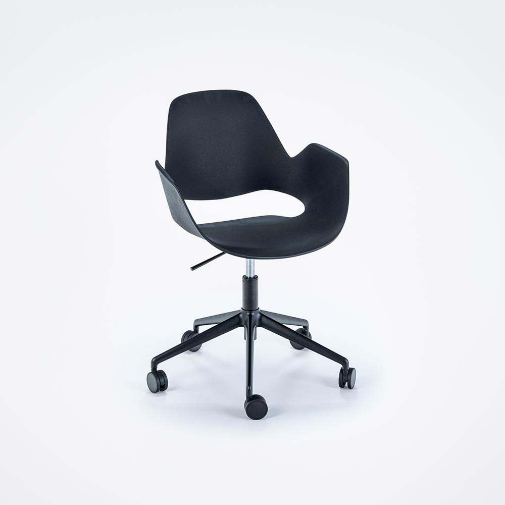 DINING ARMCHAIR // Black seat // Black 5 star swivel base w/ castors