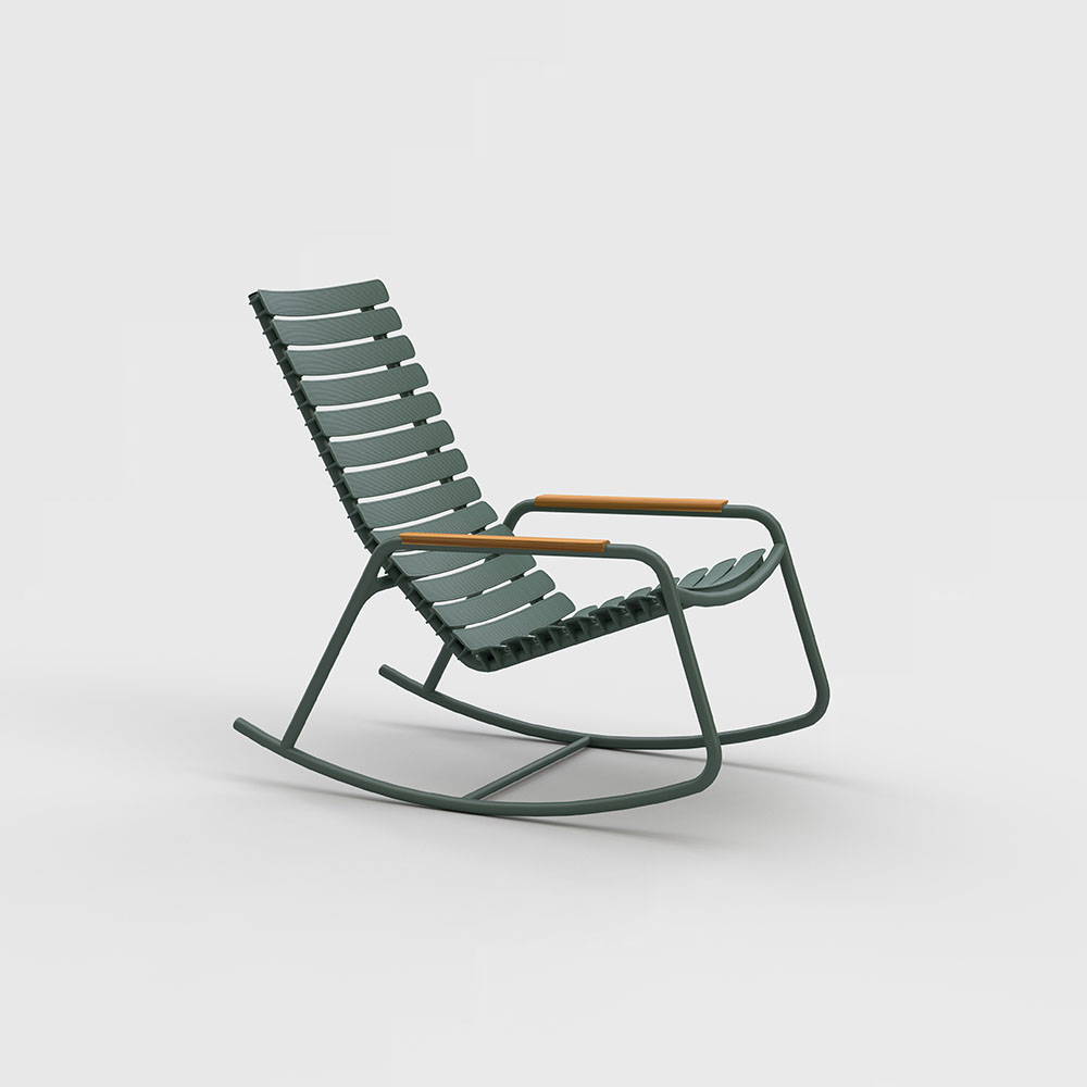 ROCKING CHAIR // Olive green // Bamboo armrests