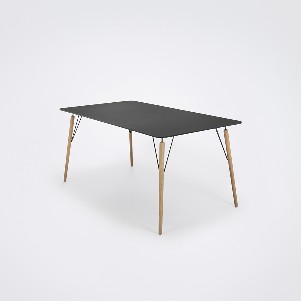 DINING TABLE 160cm // Black Linoleum // Black Edge