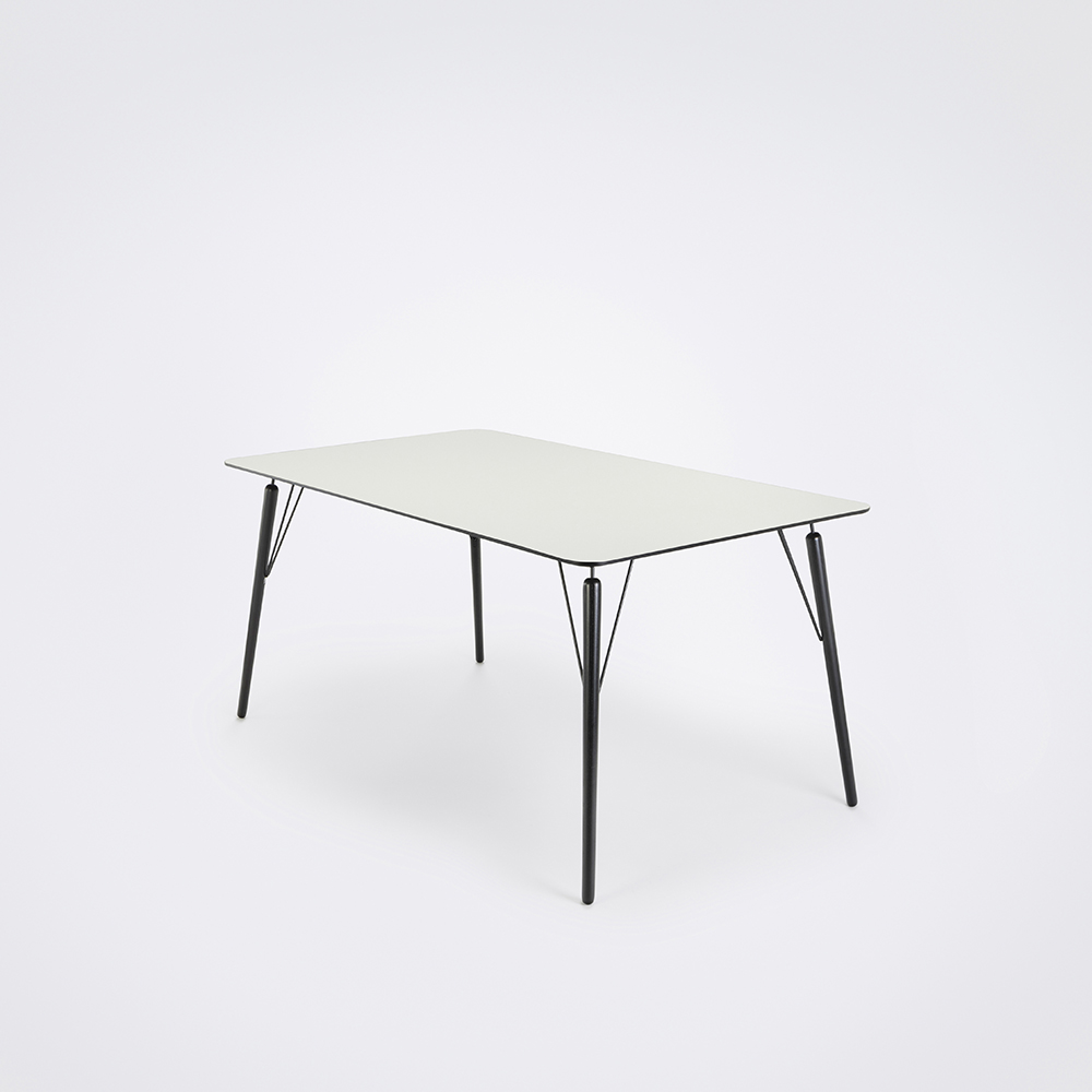 DINING TABLE 160cm // White Laminate // Black Edge