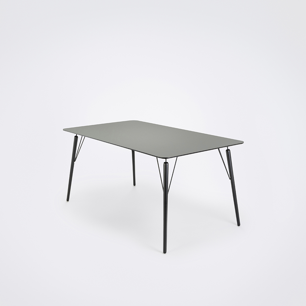 DINING TABLE 160cm // Ash Gray Linoleum // Black Edge